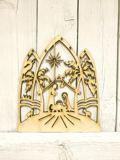 Christmas Nativity Scene - laser wood cut sign wall decor unfinished baby Jesus manger Joseph Mary s Laser Cut Wood, Laser Cutting, Drama Masks, Christmas Nativity Scene, Star Decorations, White Paneling, Christmas Items, Wall Signs, Vinyl Decals