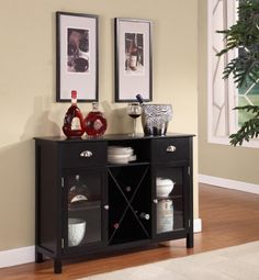 King's Brand WR1242 Wood Wine Rack Console Sideboard Table with Drawers and Storage, Black Finish King's Brand http://smile.amazon.com/dp/B006M2HVTS/ref=cm_sw_r_pi_dp_vZiIwb1G8Q5W0