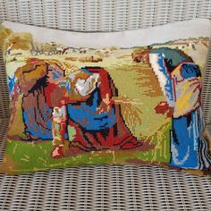 Vintage upcycled needlepoint cushion cover of Millet's Gleaners by KindredClassics on Etsy Neutral Colors, Colours, Dark Red Background, Needlepoint Kits, Retro Color, Upcycled Vintage, Wool Yarn, The Ordinary, Hand Stitching