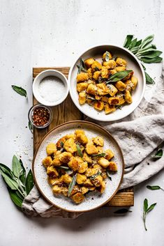 An easy homemade gnocchi recipe made with butternut squash and potato tossed in a browned butter sage sauce topped with fresh sage leaves, red pepper flakes, and parmesan cheese for a delicious gluten-free, vegan dinner! Delicious Vegan Recipes, Gluten Free Recipes, Healthy Recipes, Vegan Pasta, Vegan Food, Food Food, Vegan Parmesan Cheese, Vegan Dinners, Healthy Foods To Eat