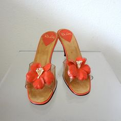 1960s Heels / Open Toe Sandals with Leather Flower / spring accessory