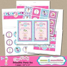 Spa Party Printables by MomsAndMunchkins on Etsy Spa Day Party, Girl Spa Party, Carnival Birthday Parties, Spa Party Invitations, Spa Party Favors, Slumber Party Games, Slumber Parties, Sleepover, Kids Spa