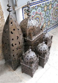 Moroccan lanterns, traditional pierced sheet-metal lanterns in a market, Morocco