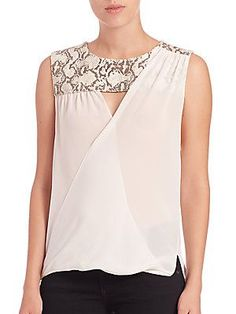 Bailey 44 Jeanette Silk Combo Top - #bllusademujer #mujer #blusa #Blouse