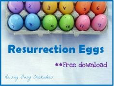 Resurrection eggs printables- need to do this.