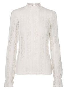 White lace shirt from VERO MODA. Style with a pair of jeans and boots for a chic every day look.