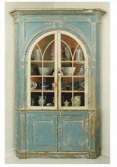 54 New Ideas Kitchen Corner Cupboard French Country Old Furniture, Distressed Furniture, Paint Furniture, Shabby Chic Furniture, Furniture Projects, Furniture Makeover, Vintage Furniture, Corner Furniture, Distressed Hutch
