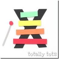 X is for Xylophone! Try this amazing alphabet craft from the Totally Tots blog. Click on the image above to learn how to make this cute craft, and what you'll need to make it. There will even be a suggested book to accompany your lesson.   Why not make a craft today?
