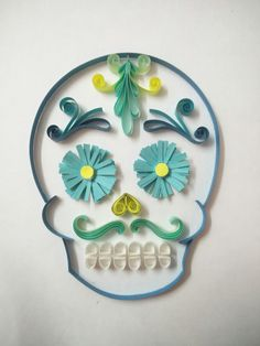 Calavera (sugar skull) paper quilled artwork