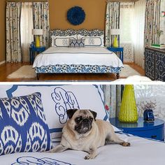 The perfect shades of blue and the cutest little pup too! Our linens are machine washable and meant for kids and pups alike! Thanks Fannie Allen Design for sharing your recent project!! #MyLeontine #FannieAllenDesign