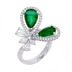 Tear-shaped Emerald and diamond ring | JYE