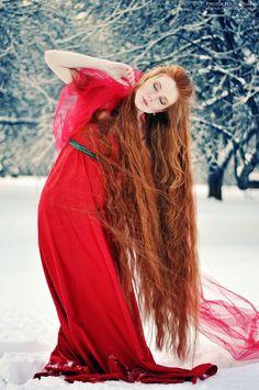 long hair and a beautiful dress