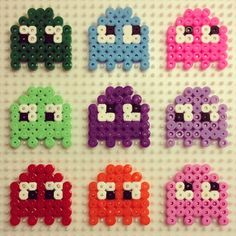 Pacman hama beads by paddywaxdesign Easy Perler Bead Patterns, Melty Bead Patterns, Diy Perler Beads, Perler Bead Art, Pearler Beads, Fuse Beads, Beading Patterns, Pixel Beads, Hama Beads Design