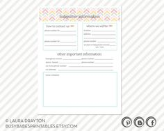 Emergency Contact Form And Daily Schedule For Nanny  Baby