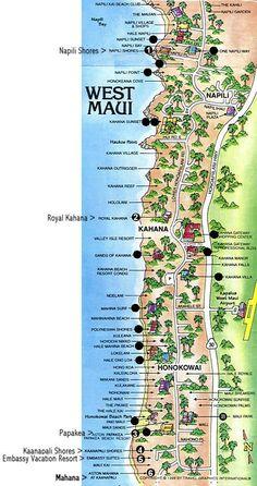 North Kaanapali, Kahana and Napili Map