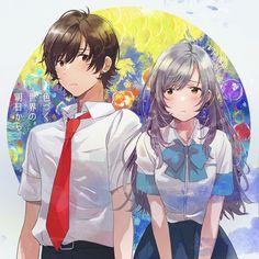 Hitomi & Yuito [Irozuku Sekai no Ashita kara] Film Anime, Manga Anime, Kawaii Chibi, Kawaii Anime, Character Art, Character Design, Sad Art, Cute Anime Couples, Anime Life