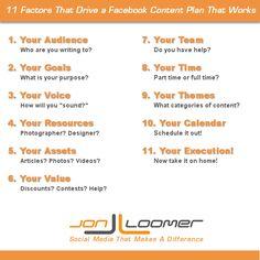 11 Factors for a Facebook Content Plan that Works Het aanmaken van een ContentStrategiePlan (CSP)  Contentmarketing, Contentstrategie boek!