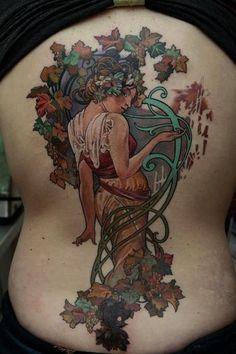 Stunning Tattoos Inspired by Alphonse Mucha | Tattoo.com