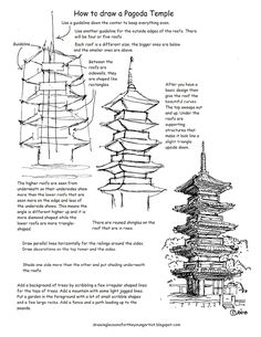 How to Draw Worksheets for The Young Artist: How to Draw A Japanese Pagoda Temple Worksheet and Drawing lesson