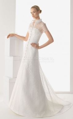 Classic A-line Lace,Satin High Neck Short Sleeve Floor-length With Sweep Train Wedding Dresses(UKSCW03-258)