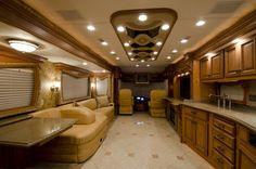 tour bus and rv interior images marathon coach luxury prevost bus Car . Luxury Campers, Luxury Rv, Camper Interior, Home Interior Design, Rv Living, Outdoor Living, Living Room, Classic Architecture, Rv For Sale