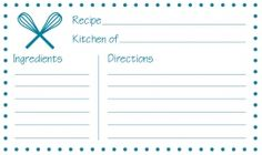 Free printable recipe cards from Jayme Sloan