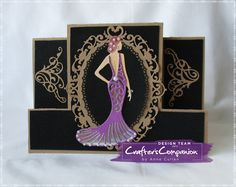 a5 stepper card made using Sara Signature Glamour Collection – Flourishing Corner. Venetian Mirror Dressed to Impress Designed by Anne Cullen #crafterscompanion