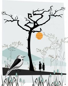 Honungsfågel, illustration by Anna Handell, Montage #nordicdesigncollective #annahandellmontage #honey #bird #yellow #illustration #bees #trees #people