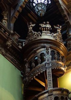 Spiral staircase at Peles Castle , Romania