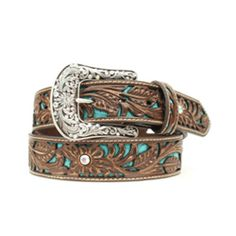 "Ariat 1 1/2"" Turquoise Inlay Belt - This beautiful tooled leather belt features brightly contrasting turquoise inlays and floral engraved buckle."