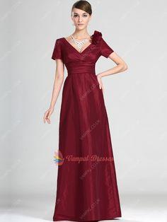 123.00$  Watch here - http://vixui.justgood.pw/vig/item.php?t=8cvwo7v28938 - Burgundy V-neck Short Sleeve Taffeta Long Prom Dresses With Flowers 123.00$