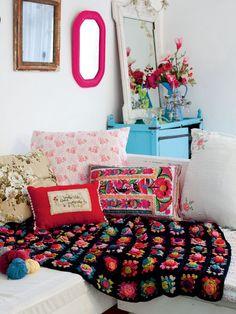 Love the colors!!Debbie Bliss knitting patterns, Debbie Bliss Crochet Living, Flamenco Blanket, from Laughing Hens