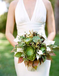 Succulent wedding bouquet by Nancy Liu Chin (Photo: Josh Gruetzmacher)
