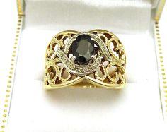 10K Yellow Gold 1CT Sapphire & 12 Diamonds Open Lattice Ring #YYJ