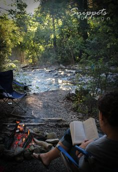 Reading next to the campfire? By a creek in the woods? This is perfection!!