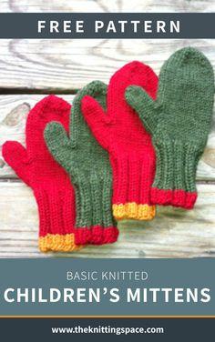 Baby Mittens Knitting Pattern, Easy Knitting Patterns, Knit Mittens, Knitting For Kids, Knitted Gloves, Loom Knitting, Free Knitting, Baby Knitting, Free Childrens Knitting Patterns