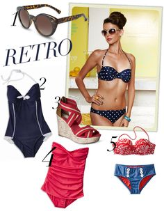 Top off this retro look with classic red lips and you're pin-up pool ready #style #swim #spring