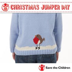 Free Pattern: Save the Children's Christmas Jumper Day by Sue Stratford Jumper Knitting Pattern, Jumper Patterns, Knitting Patterns Free, Knit Patterns, Free Knitting, Baby Knitting, Free Pattern, Knitted Baby, Baby Patterns