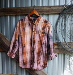 Distressed vintage flannel in tan/brown from Mad Mary's Boutique