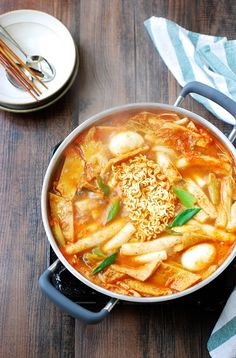 "Literally translated ""stir-fried rice cake"", tteokbokki is one of the most popular snack/comfort foods at home and on the streets of Korea. This recipe is a soupy variation of spicy tteokbokki."