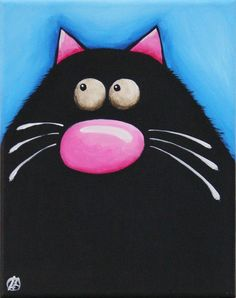Fat Cat Art Original painting whimsical black cat by Lucia Stewart blue (5) #Modern