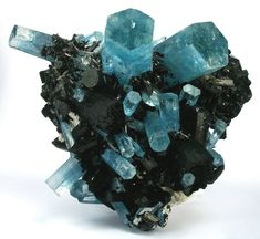 Aquamarine with Schorl from Erongo Mountain, Usakos District, Erongo Region, Namibia / Mineral Friends <3