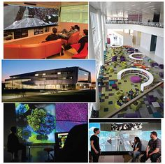 Tomorrow, Visualized | Library by Design Fall 2013 Putting books in the robot makes room for high-tech data visualization and creativity spaces at the Hunt Library. The striking exterior (l. ctr.) illuminates the Centennial Campus. Innovative features inside include (clockwise, top l.) the Game Lab, the Rain Garden Reading Lounge, the 21'-wide Christie MicroTiles wall in the Game Lab and in the Creativity Studio.