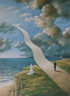 Rafał Olbiński (b1945) immigrated to the United States in 1981, where he soon established himself as a prominent painter, illustrator and designer. Olbinski's work is very similar to the work of the famous Belgian surrealist Rene Magritte. Here is has appropriated the dove which is in so many Magritte paintings.