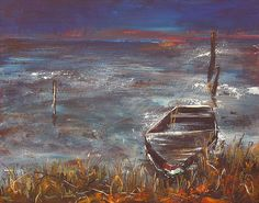 Sinking Boat   Acrylic Water Landscape   Original Acrylic Painting   Dora Stork   Encaustic Artist Stork, Acrylic Paintings, Landscapes, Boat, Water, Artist, Paisajes, Gripe Water, Scenery
