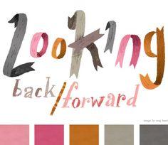 Loving the ribbon-style font and colour palette ... Meg Hunt via Creature Comforts.