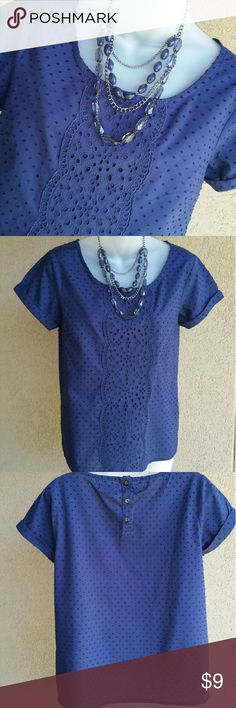 Gap Blouse 100% Cotton top with a decorative eyelet design overlay in front. 3 button closure. Slits on the sides for a comfortable fit. GAP Tops Blouses