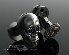 Skull cufflinks in gold and blackened sterling by DeMerJewelry