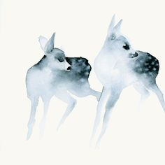 'Ghost Fawns' Watercolor Painting by dearcatherina via Etsy #two #deer