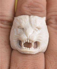 Sz 6 Tiger Face Ring By Master Carved Shed deer antlers